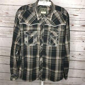 BKE Long Sleeve Button Front slim fit Shirt L